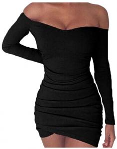 Vestido delgao Sensual Ajustado Apretado de Cuello Plisado de Barco de Manga Larga de Moda para Mujer Negro